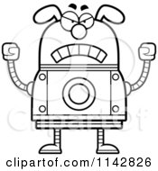 Cartoon Clipart Of A Black And White Mad Dog Robot Vector Outlined Coloring Page