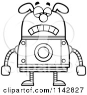 Cartoon Clipart Of A Black And White Sad Dog Robot Vector Outlined Coloring Page