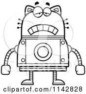 Cartoon Clipart Of A Black And White Sad Robot Cat Vector Outlined Coloring Page by Cory Thoman