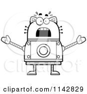 Cartoon Clipart Of A Black And White Scared Robot Cat Vector Outlined Coloring Page