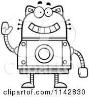 Cartoon Clipart Of A Black And White Waving Robot Cat Vector Outlined Coloring Page by Cory Thoman