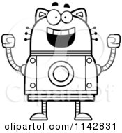 Cartoon Clipart Of A Black And White Excited Robot Cat Vector Outlined Coloring Page by Cory Thoman