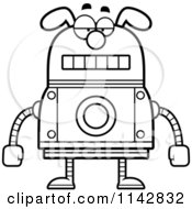 Cartoon Clipart Of A Black And White Bored Dog Robot Vector Outlined Coloring Page