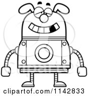 Cartoon Clipart Of A Black And White Dumb Dog Robot Vector Outlined Coloring Page