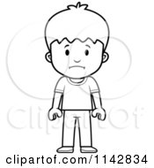 Cartoon Clipart Of A Black And White School Boy With Sad Expression Vector Outlined Coloring