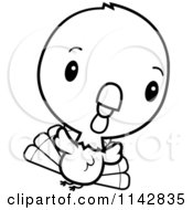 Cartoon Clipart Of A Black And White Cute Baby Turkey Bird Flying Vector Outlined Coloring Page by Cory Thoman