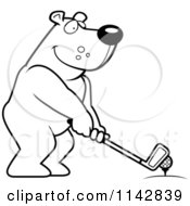 Cartoon Clipart Of A Black And White Golfing Bear Holding The Club Against The Ball On The Tee Vector Outlined Coloring Page by Cory Thoman