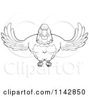 Cartoon Clipart Of A Black And White Buff Bald Eagle Flying Vector Outlined Coloring Page