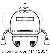 Cartoon Clipart Of A Black And White Bored Robot Boy Vector Outlined Coloring Page