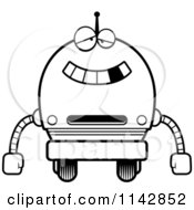 Cartoon Clipart Of A Black And White Dumb Robot Boy Vector Outlined Coloring Page
