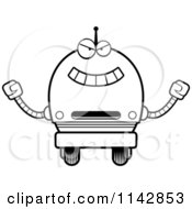 Cartoon Clipart Of A Black And White Evil Robot Boy Vector Outlined Coloring Page