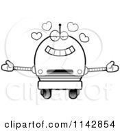 Cartoon Clipart Of A Black And White Loving Robot Boy Vector Outlined Coloring Page