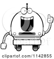 Cartoon Clipart Of A Black And White Smart Robot Boy Vector Outlined Coloring Page