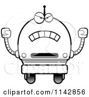 Cartoon Clipart Of A Black And White Mad Robot Boy Vector Outlined Coloring Page