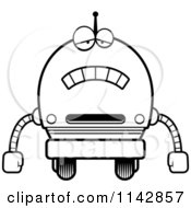 Cartoon Clipart Of A Black And White Sad Robot Boy Vector Outlined Coloring Page