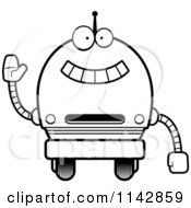 Cartoon Clipart Of A Black And White Waving Robot Boy Vector Outlined Coloring Page
