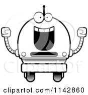 Cartoon Clipart Of A Black And White Cheering Robot Boy Vector Outlined Coloring Page