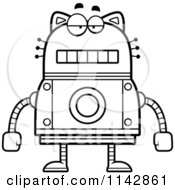 Cartoon Clipart Of A Black And White Bored Robot Cat Vector Outlined Coloring Page by Cory Thoman