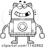 Cartoon Clipart Of A Black And White Dumb Robot Cat Vector Outlined Coloring Page by Cory Thoman