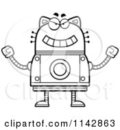 Cartoon Clipart Of A Black And White Evil Robot Cat Vector Outlined Coloring Page by Cory Thoman