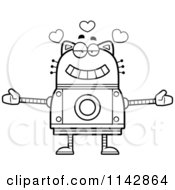 Cartoon Clipart Of A Black And White Loving Robot Cat Vector Outlined Coloring Page by Cory Thoman