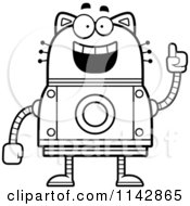 Cartoon Clipart Of A Black And White Smart Robot Cat Vector Outlined Coloring Page by Cory Thoman