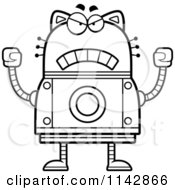 Cartoon Clipart Of A Black And White Mad Robot Cat Vector Outlined Coloring Page by Cory Thoman