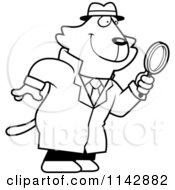 Cartoon Clipart Of A Black And White Cat Detective Using A Magnifying Glass Vector Outlined Coloring Page