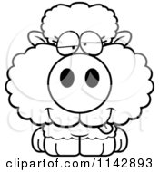 Cartoon Clipart Of A Black And White Goofy Baby Sheep Vector Outlined Coloring Page by Cory Thoman