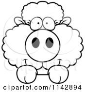 Cartoon Clipart Of A Black And White Cute Baby Sheep Looking Over A Surface Vector Outlined Coloring Page