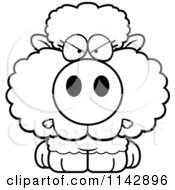 Cartoon Clipart Of A Black And White Mad Baby Sheep Vector Outlined Coloring Page