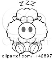 Cartoon Clipart Of A Black And White Cute Baby Sheep Sleeping Vector Outlined Coloring Page