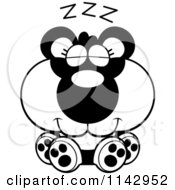 Cartoon Clipart Of A Black And White Cute Sleeping Panda Vector Outlined Coloring Page