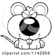 Cartoon Clipart Of A Black And White Sly Mouse Vector Outlined Coloring Page