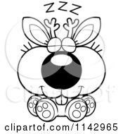 Cartoon Clipart Of A Black And White Cute Jackalope Sleeping Vector Outlined Coloring Page