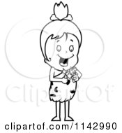 Cartoon Clipart Of A Black And White Cave Girl Using A Flint Vector Outlined Coloring Page