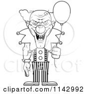 Cartoon Clipart Of A Black And White Demonic Clown Holding A Balloon Vector Outlined Coloring Page