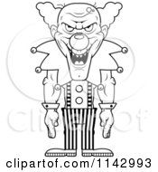 Cartoon Clipart Of A Black And White Demonic Clown Laughing Vector Outlined Coloring Page