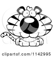 Cartoon Clipart Of A Black And White Cute Tiger Vector Outlined Coloring Page