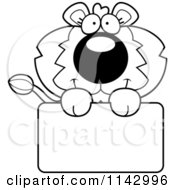 Cartoon Clipart Of A Black And White Cute Lion Holding A Sign Vector Outlined Coloring Page