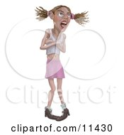 Girl Throwing A Temper Tantrum Clipart Illustration