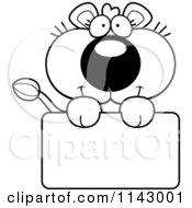 Cartoon Clipart Of A Black And White Cute Lioness Holding A Sign Vector Outlined Coloring Page