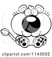 Cartoon Clipart Of A Black And White Cute Sitting Lioness Vector Outlined Coloring Page