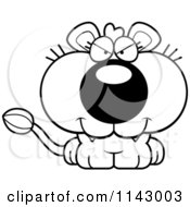 Cartoon Clipart Of A Black And White Cute Evil Lioness Vector Outlined Coloring Page