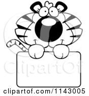 Cartoon Clipart Of A Black And White Cute Tiger Holding A Sign Vector Outlined Coloring Page
