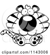 Cartoon Clipart Of A Black And White Cute Sitting Tiger Vector Outlined Coloring Page