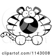 Cartoon Clipart Of A Black And White Cute Tiger Over A Surface Vector Outlined Coloring Page