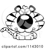 Cartoon Clipart Of A Black And White Cute Mad Tiger Vector Outlined Coloring Page