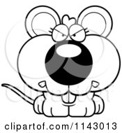 Cartoon Clipart Of A Black And White Mad Mouse Vector Outlined Coloring Page