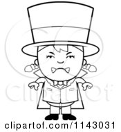 Cartoon Clipart Of A Black And White Mad Magician Girl Vector Outlined Coloring Page